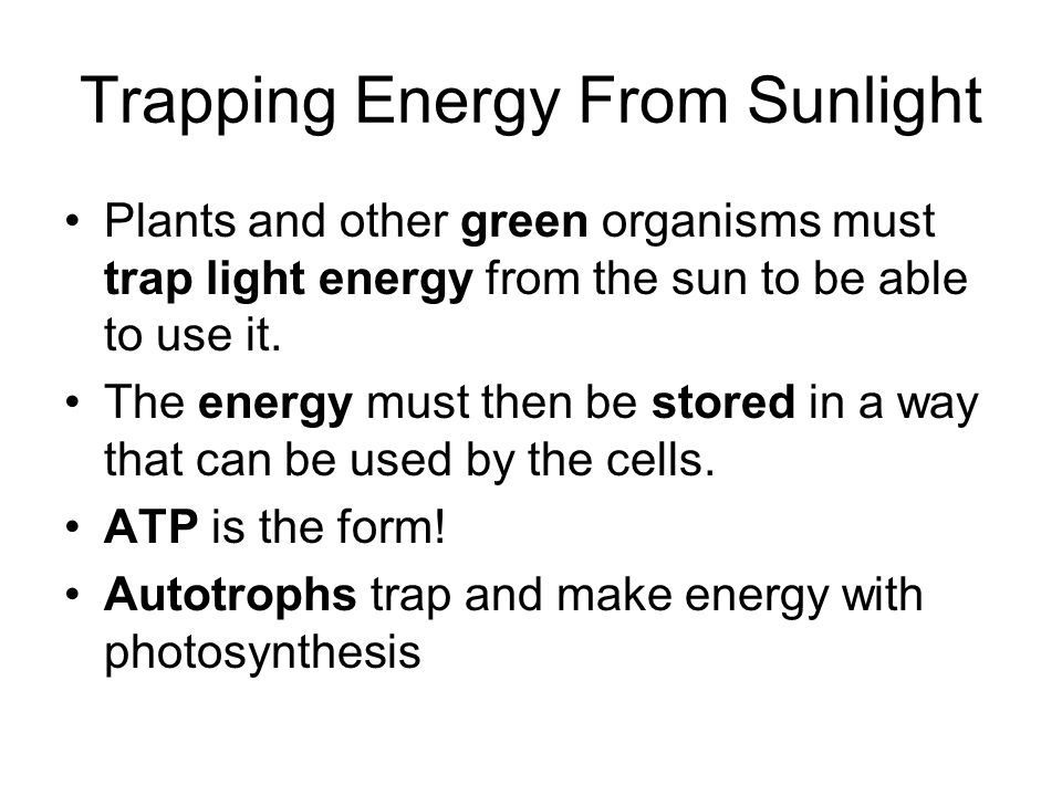 Trapping Energy From Sunlight