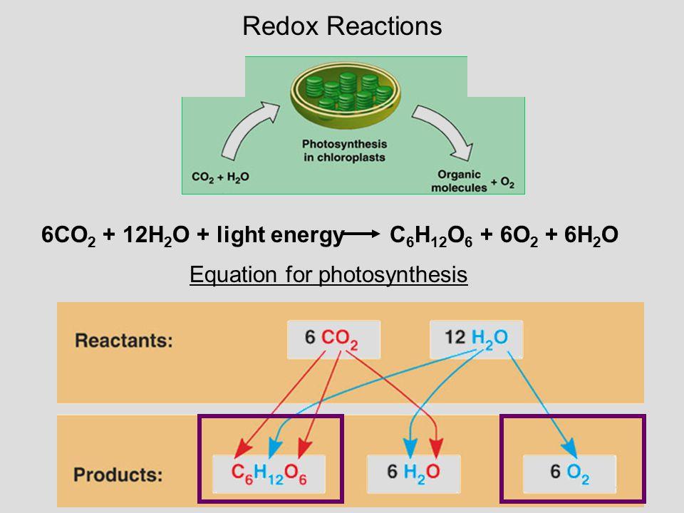 Redox Reactions 6CO2 + 12H2O + light energy C6H12O6 + 6O2 + 6H2O