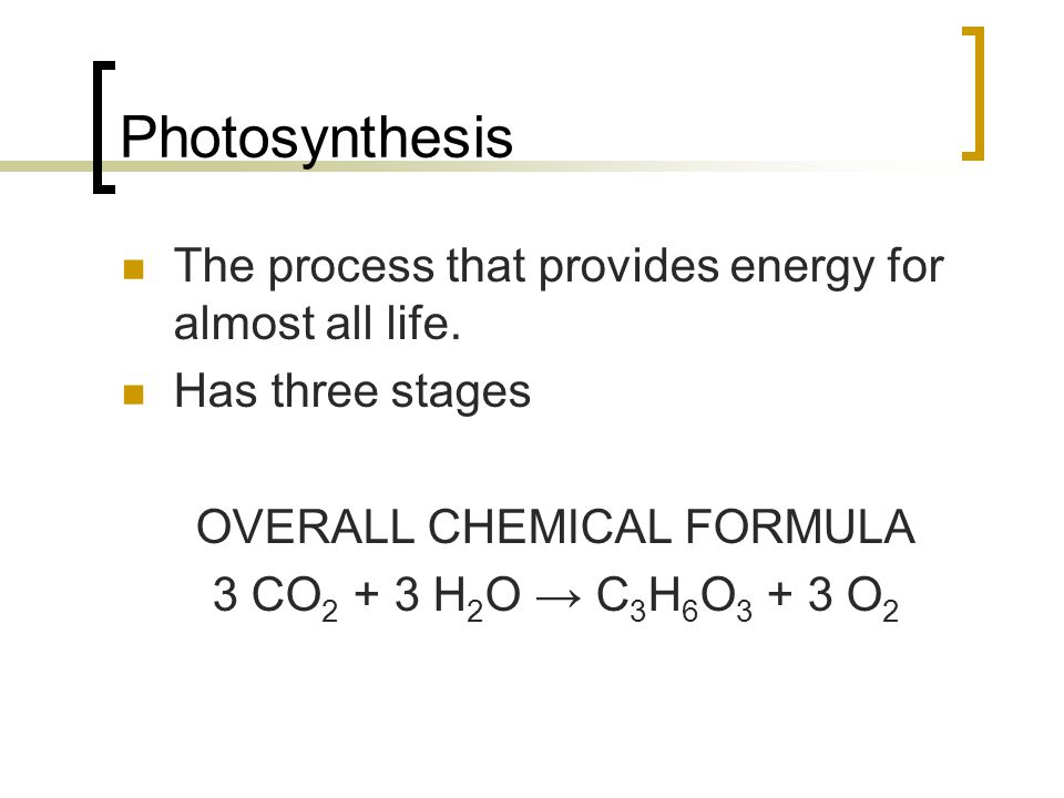 OVERALL CHEMICAL FORMULA