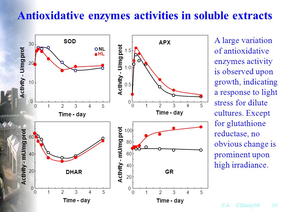 Antioxidative enzymes activities in soluble extracts
