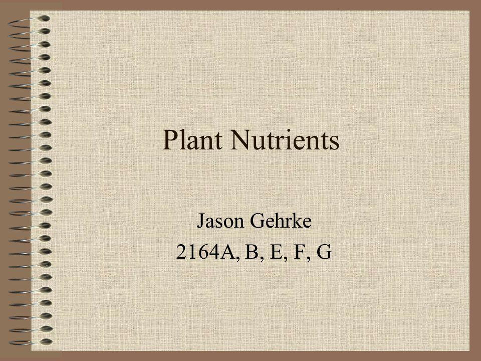 Plant Nutrients Jason Gehrke 2164A, B, E, F, G