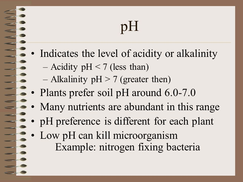pH Indicates the level of acidity or alkalinity