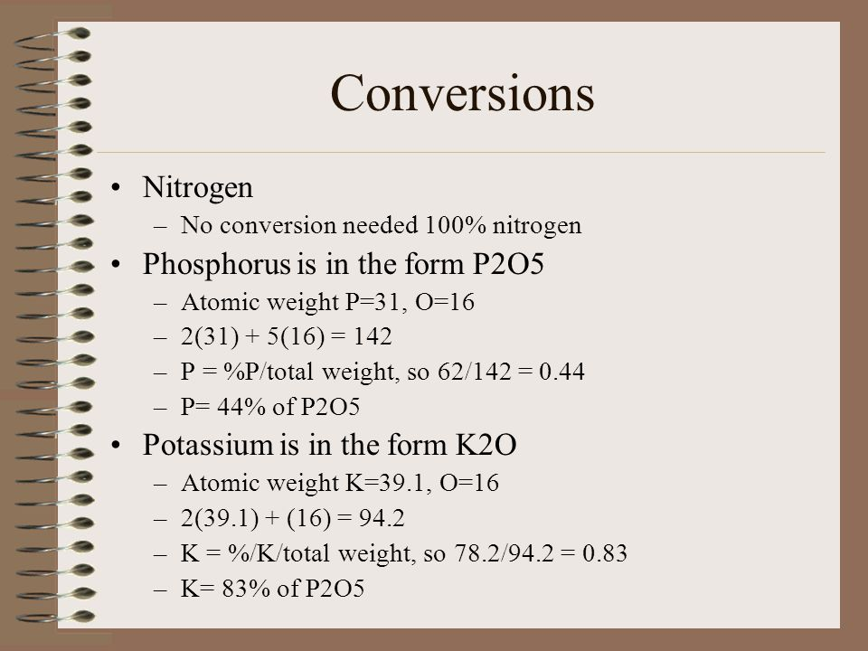 Conversions Nitrogen Phosphorus is in the form P2O5