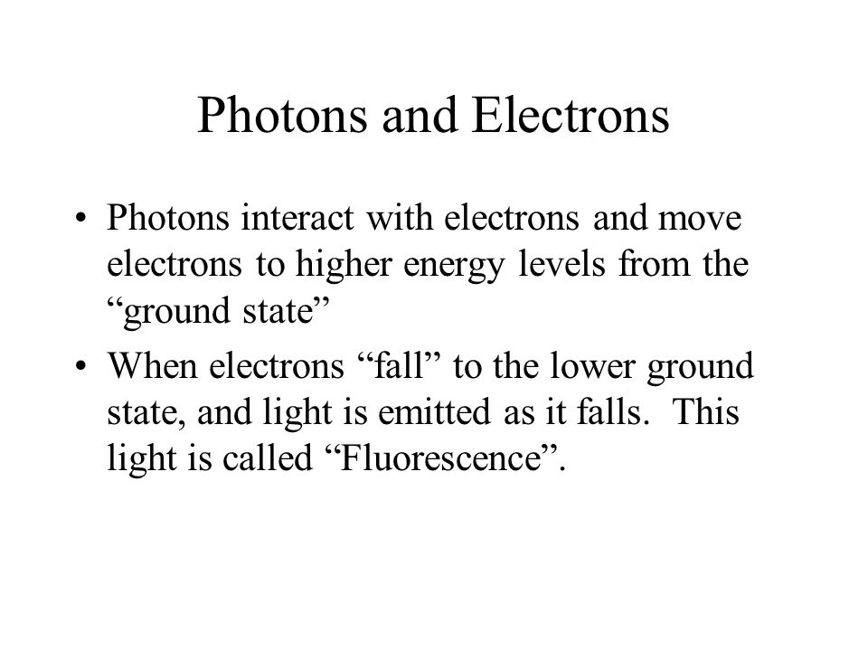 Photons and Electrons Photons interact with electrons and move electrons to higher energy levels from the ground state