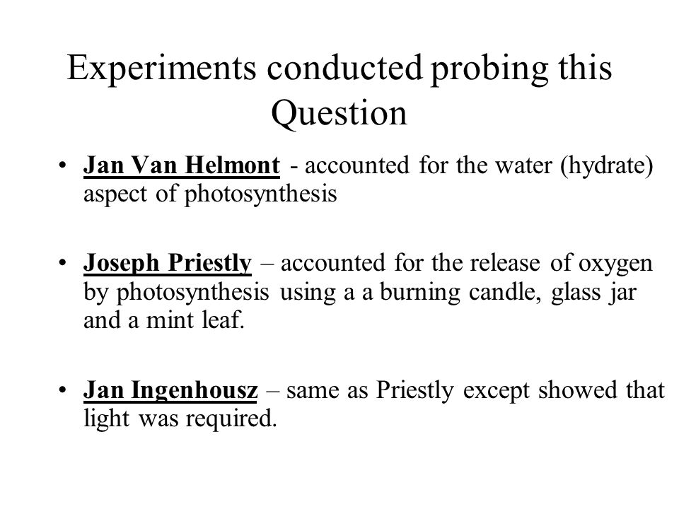 Experiments conducted probing this Question