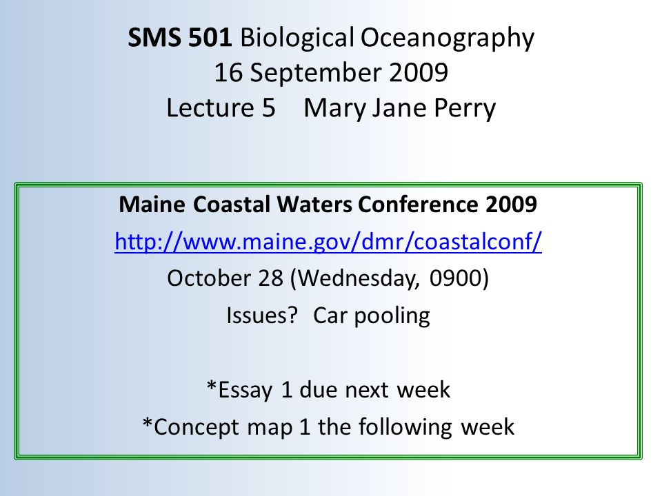 Maine Coastal Waters Conference 2009