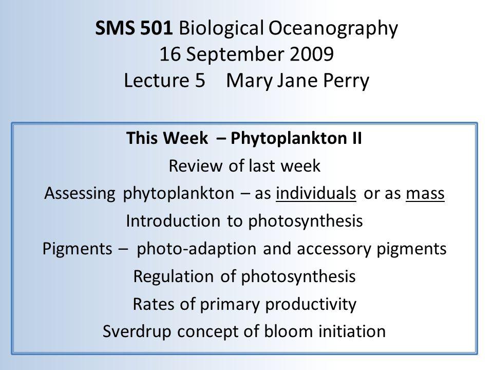 This Week – Phytoplankton II
