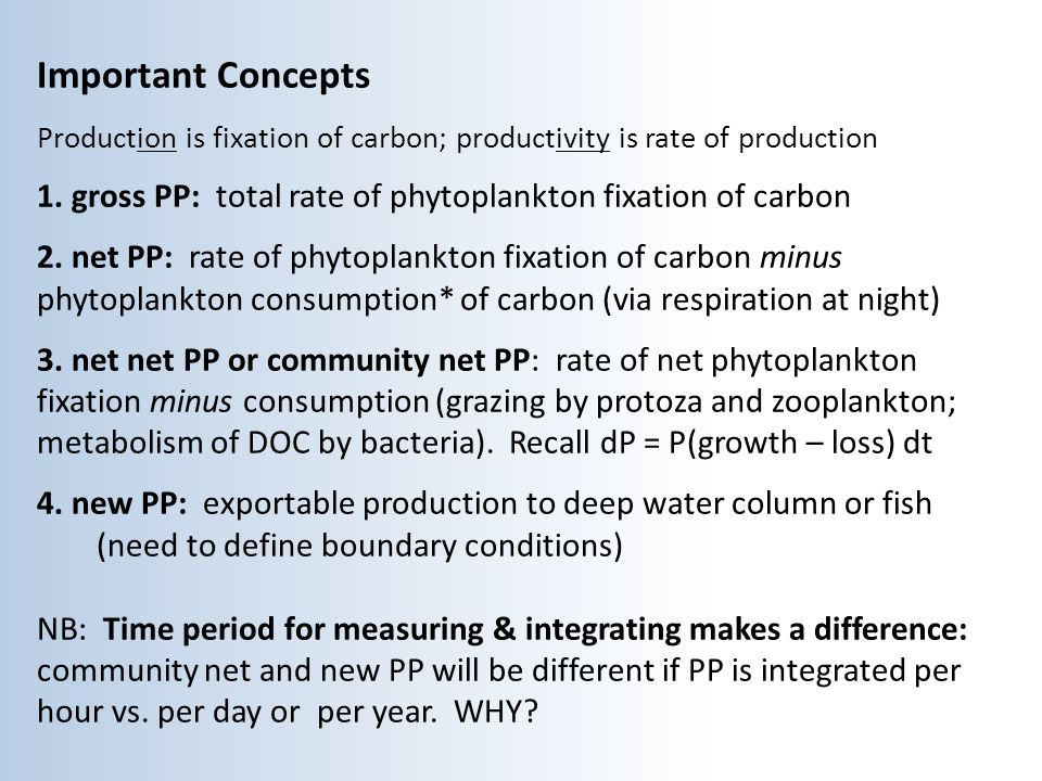 Important Concepts Production is fixation of carbon; productivity is rate of production 1.