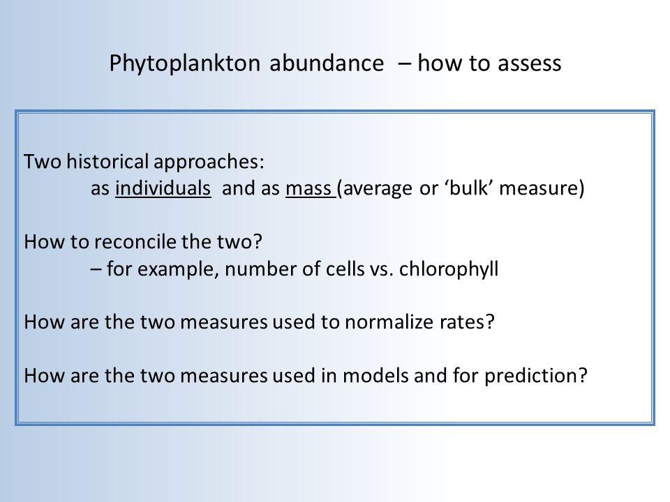 Phytoplankton abundance – how to assess