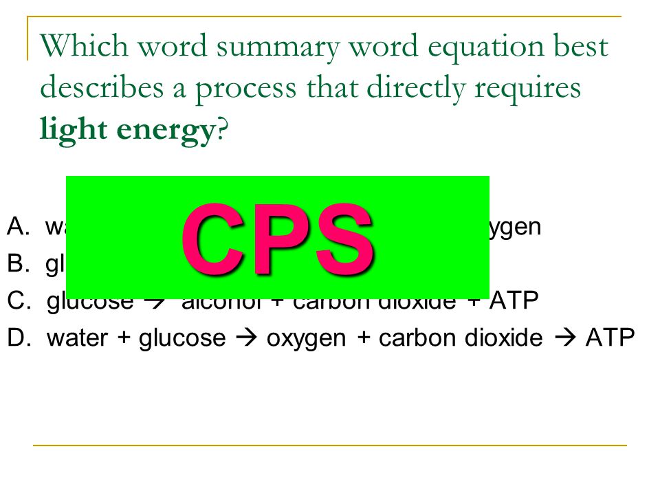 Which word summary word equation best describes a process that directly requires light energy
