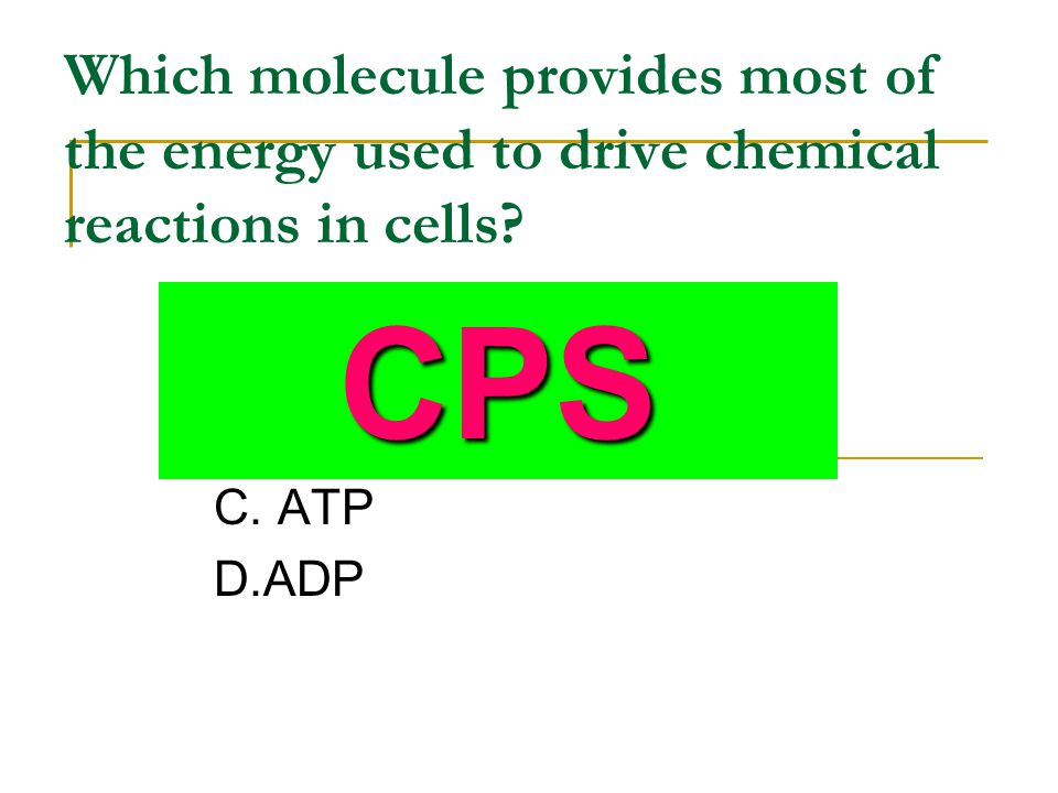Which molecule provides most of the energy used to drive chemical reactions in cells