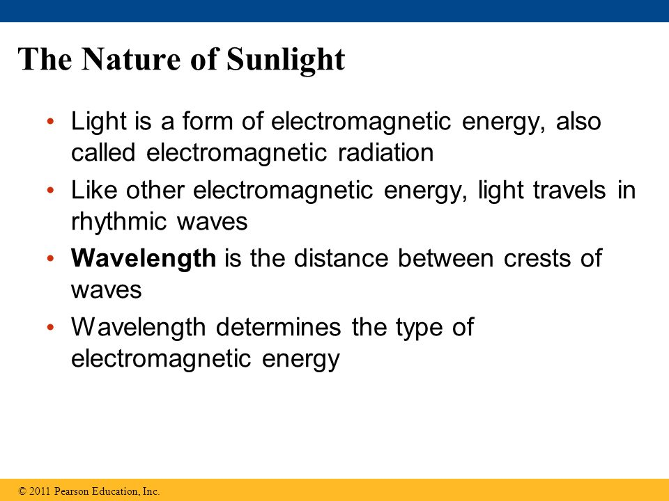 The Nature of Sunlight Light is a form of electromagnetic energy, also called electromagnetic radiation.