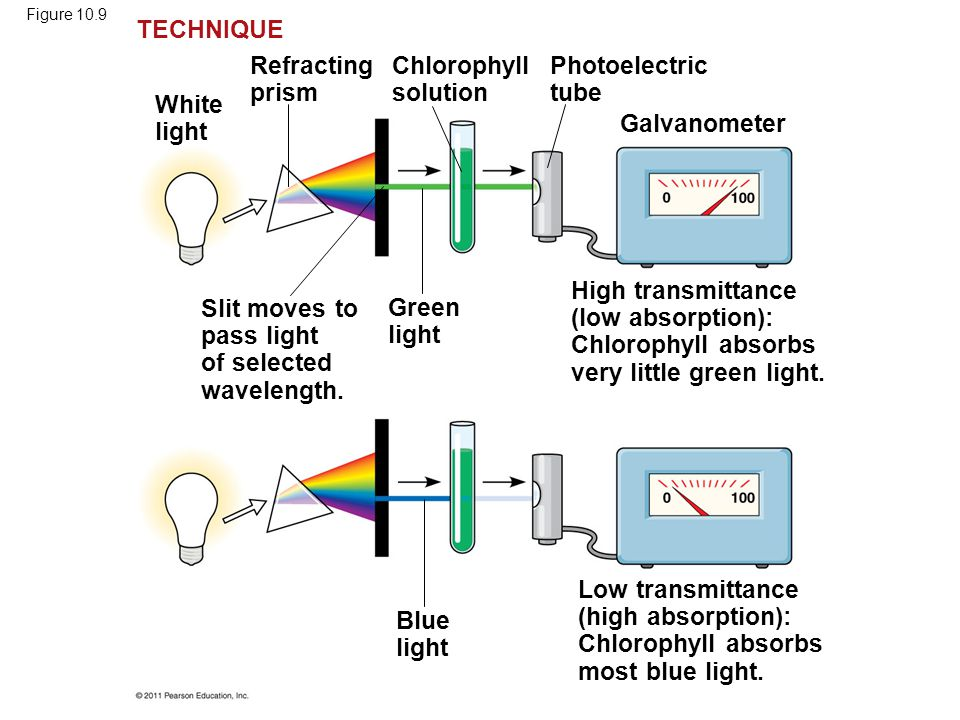 Slit moves to pass light of selected wavelength. Green light