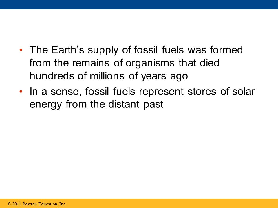 The Earth's supply of fossil fuels was formed from the remains of organisms that died hundreds of millions of years ago
