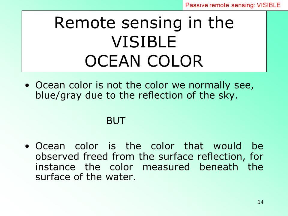 Remote sensing in the VISIBLE OCEAN COLOR
