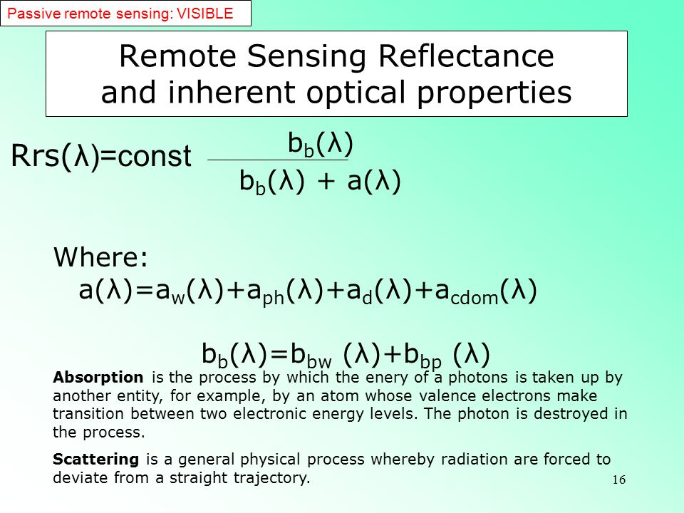 Remote Sensing Reflectance and inherent optical properties