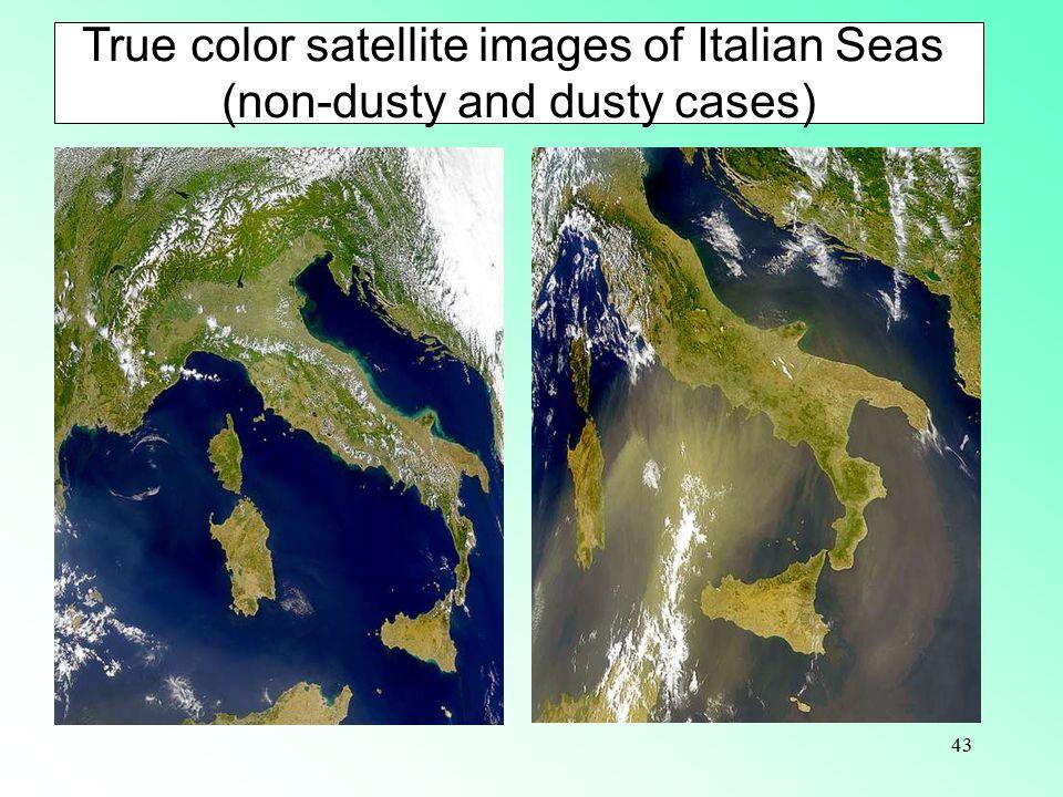 True color satellite images of Italian Seas