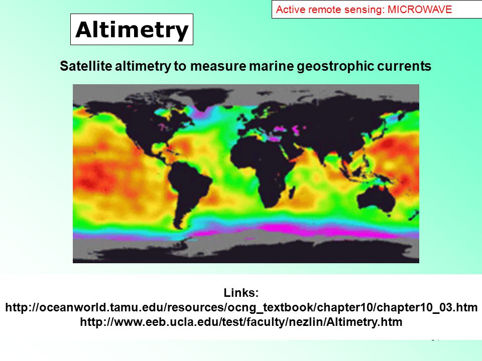 Altimetry Satellite altimetry to measure marine geostrophic currents