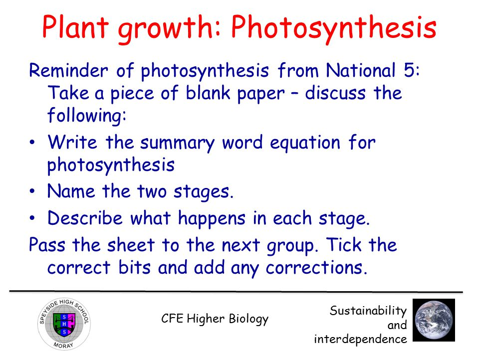 Plant growth: Photosynthesis