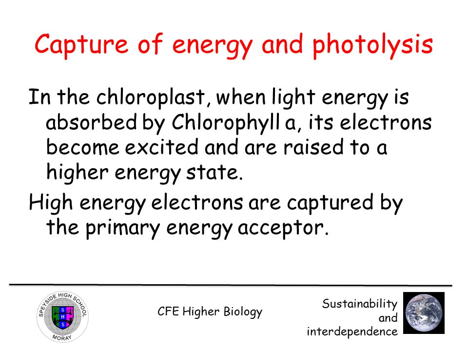 Capture of energy and photolysis