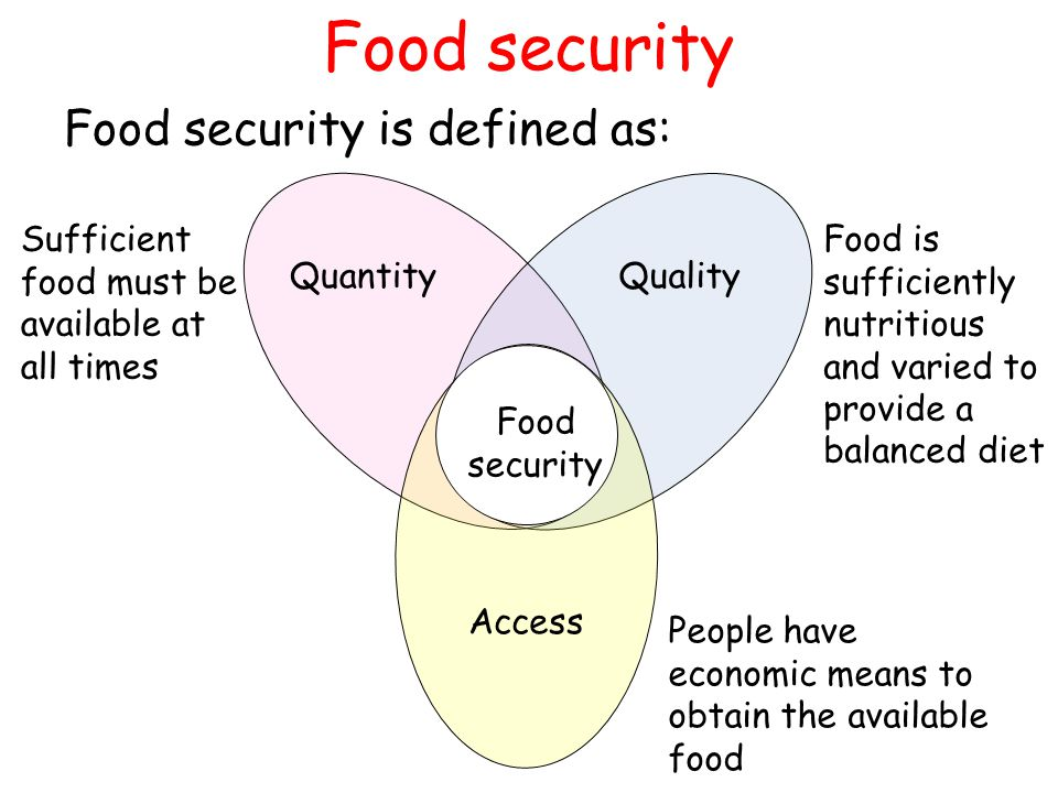 Food security Food security is defined as: