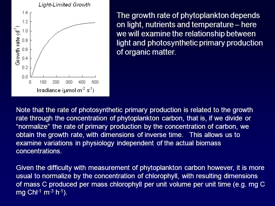 The growth rate of phytoplankton depends on light, nutrients and temperature – here we will examine the relationship between light and photosynthetic primary production of organic matter.