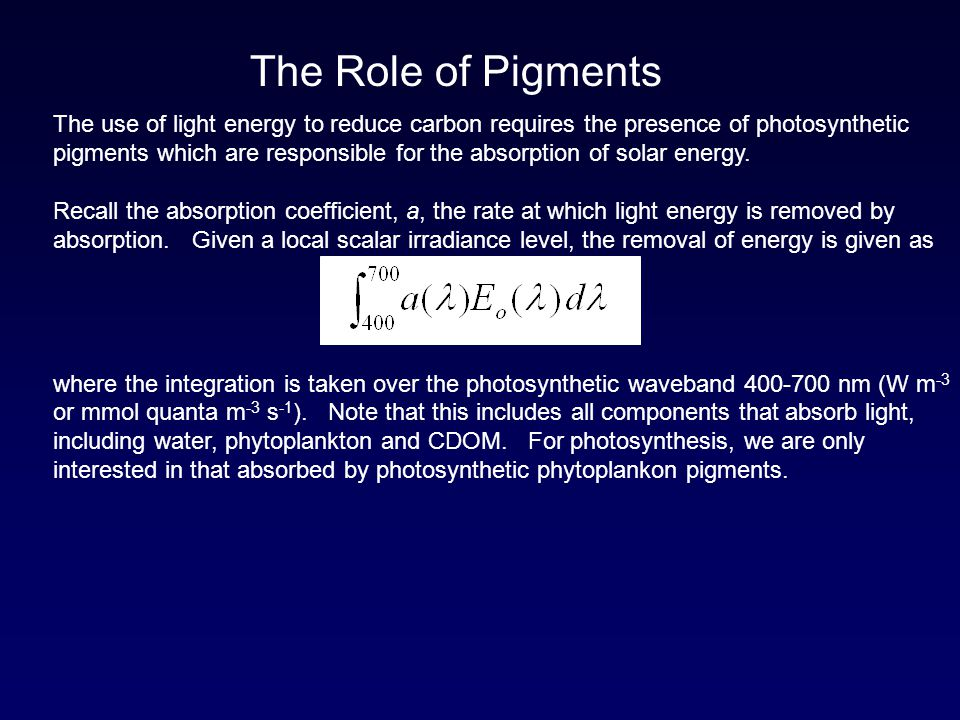 The Role of Pigments