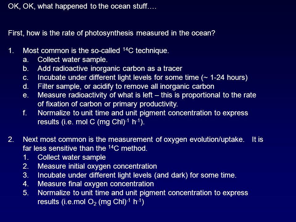 OK, OK, what happened to the ocean stuff….