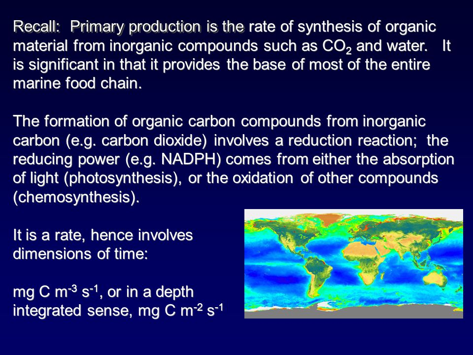 Recall: Primary production is the rate of synthesis of organic material from inorganic compounds such as CO2 and water.