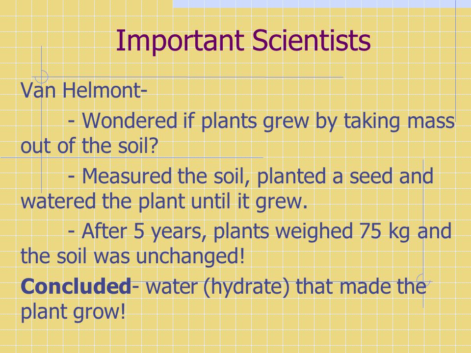 Important Scientists Van Helmont-