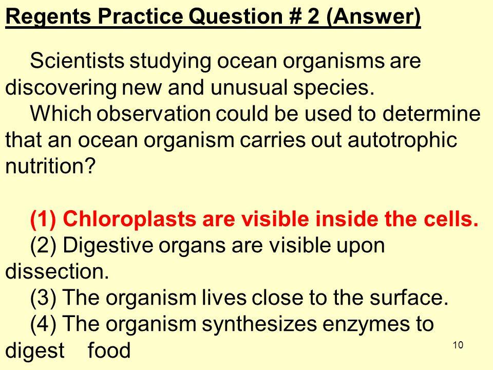 Regents Practice Question # 2 (Answer)