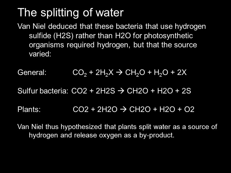 The splitting of water