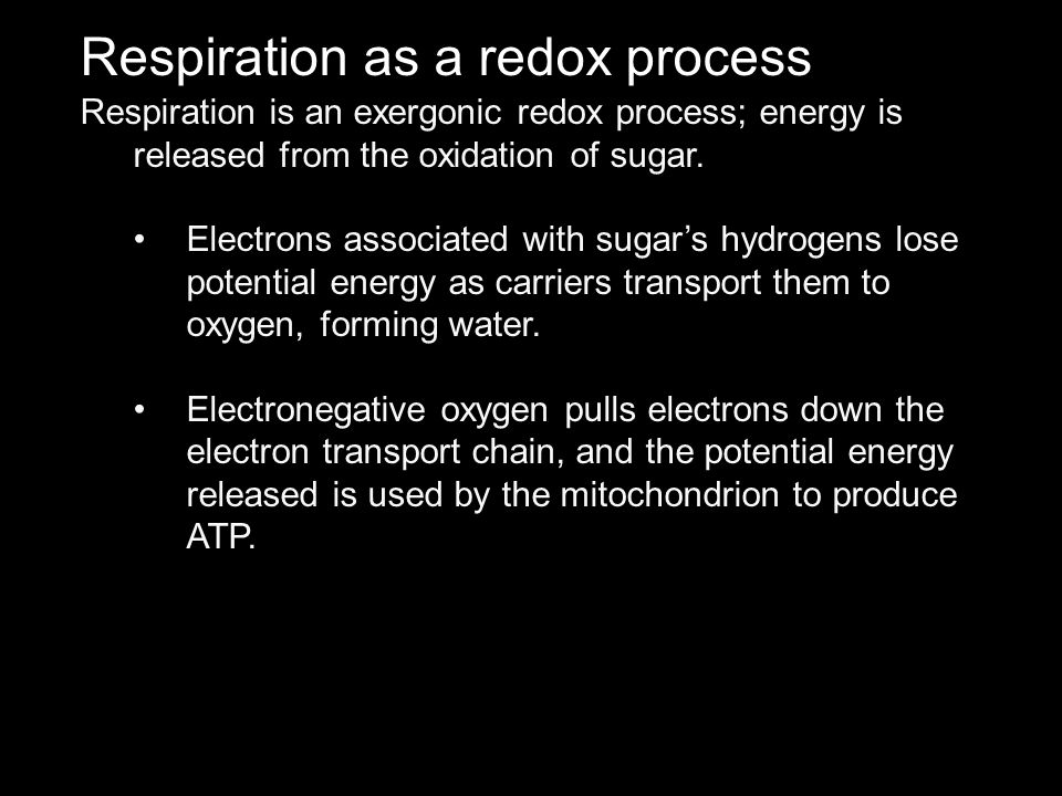 Respiration as a redox process