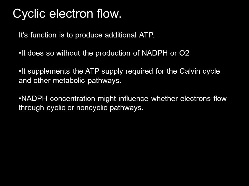 Cyclic electron flow. It's function is to produce additional ATP.
