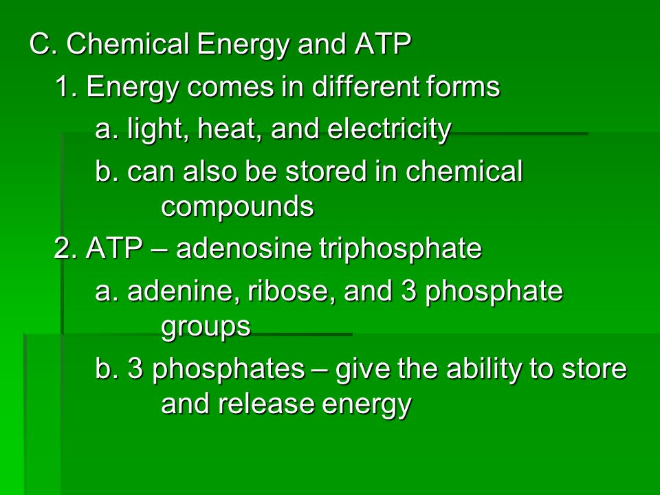 C. Chemical Energy and ATP