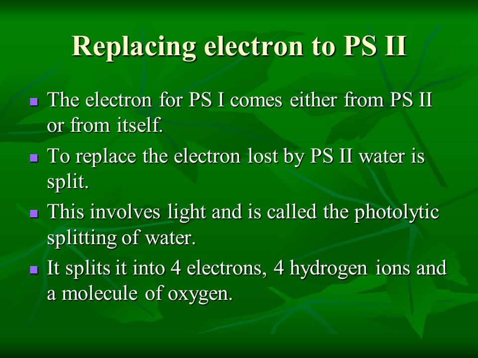 Replacing electron to PS II