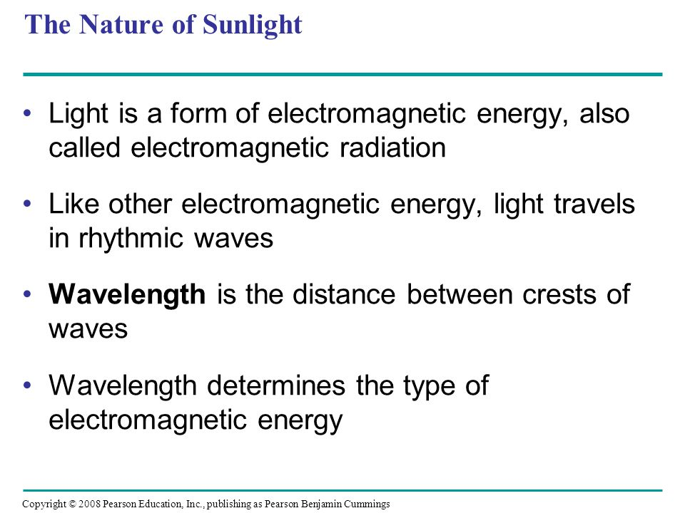 Like other electromagnetic energy, light travels in rhythmic waves