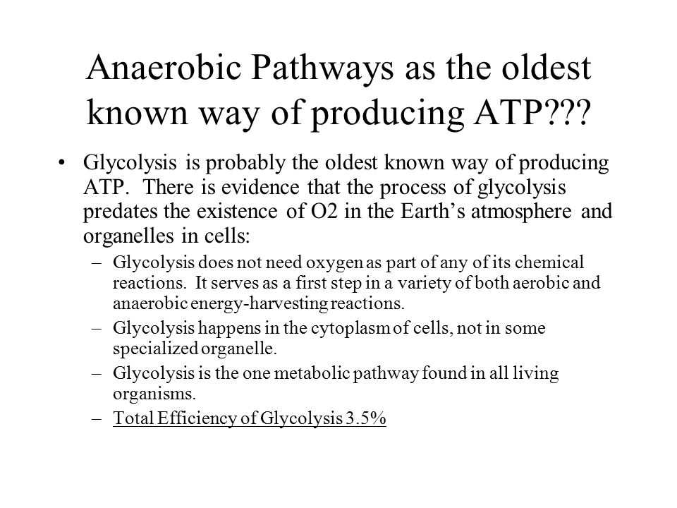 Anaerobic Pathways as the oldest known way of producing ATP