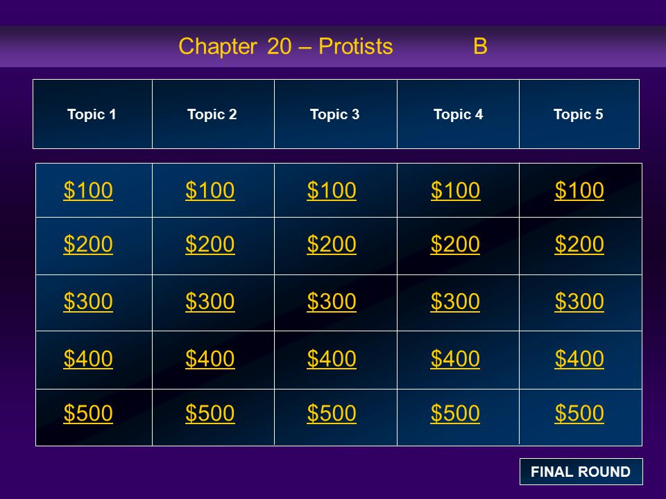 Chapter 20 – Protists B $100 $100 $100 $100 $100 $200 $200 $200 $200