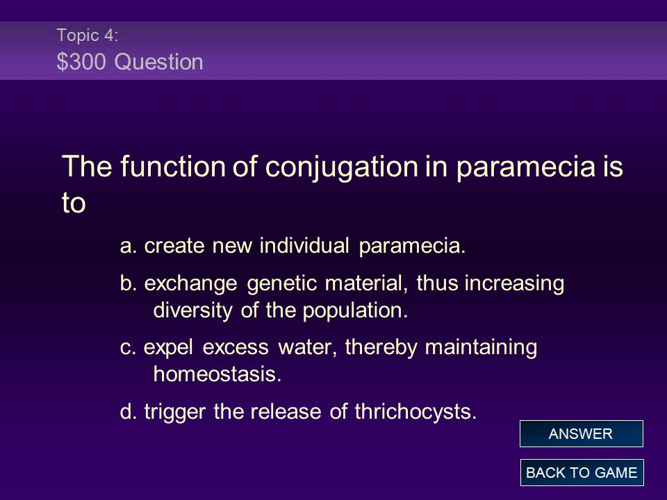 The function of conjugation in paramecia is to