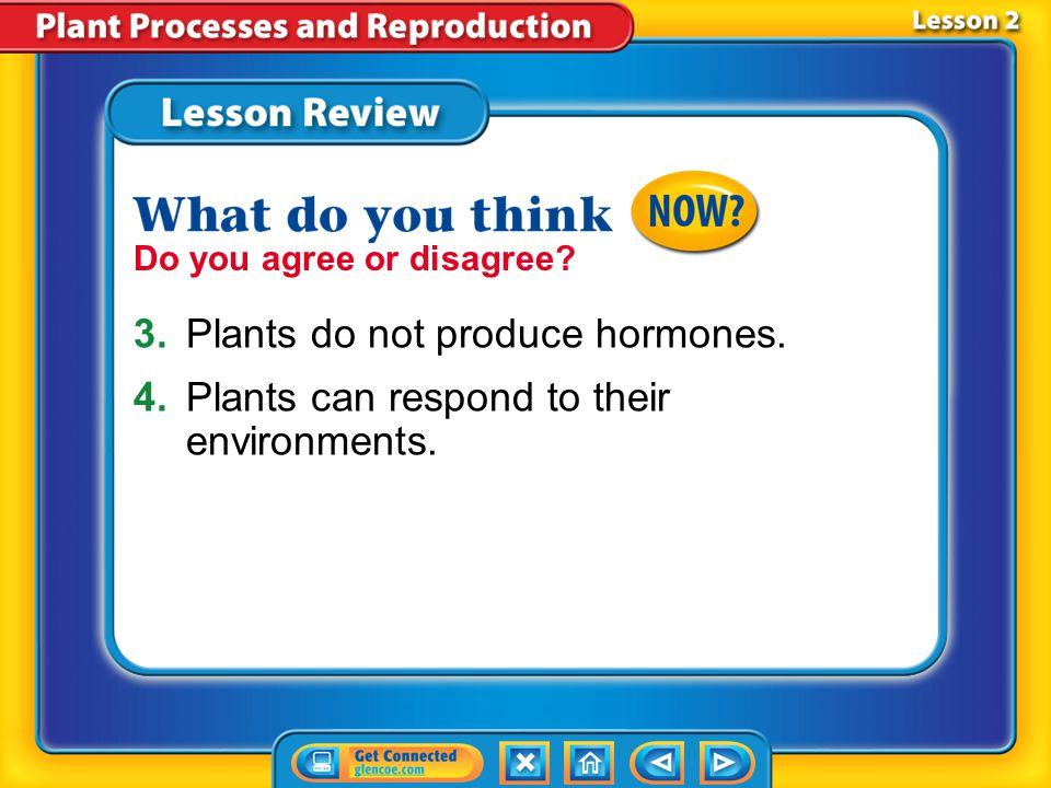 3. Plants do not produce hormones.