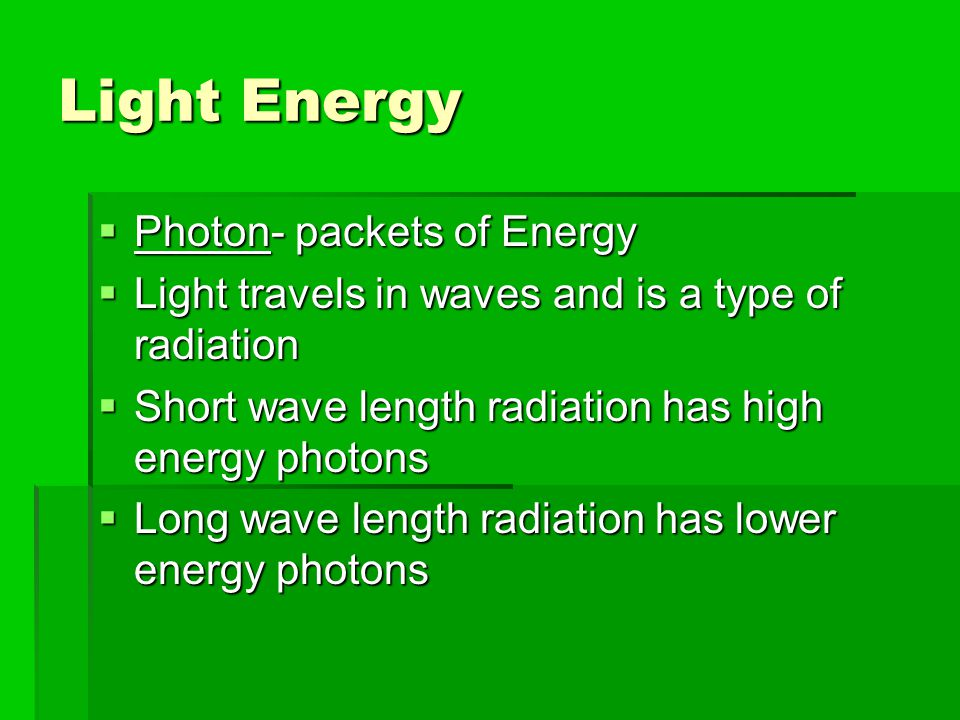 Light Energy Photon- packets of Energy