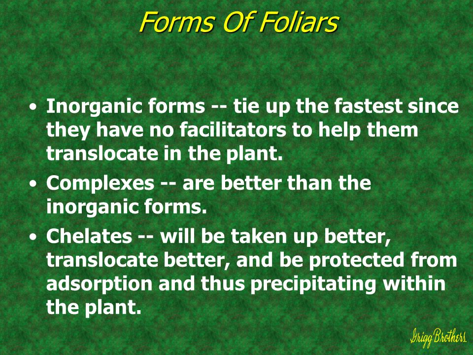Forms Of Foliars Inorganic forms -- tie up the fastest since they have no facilitators to help them translocate in the plant.