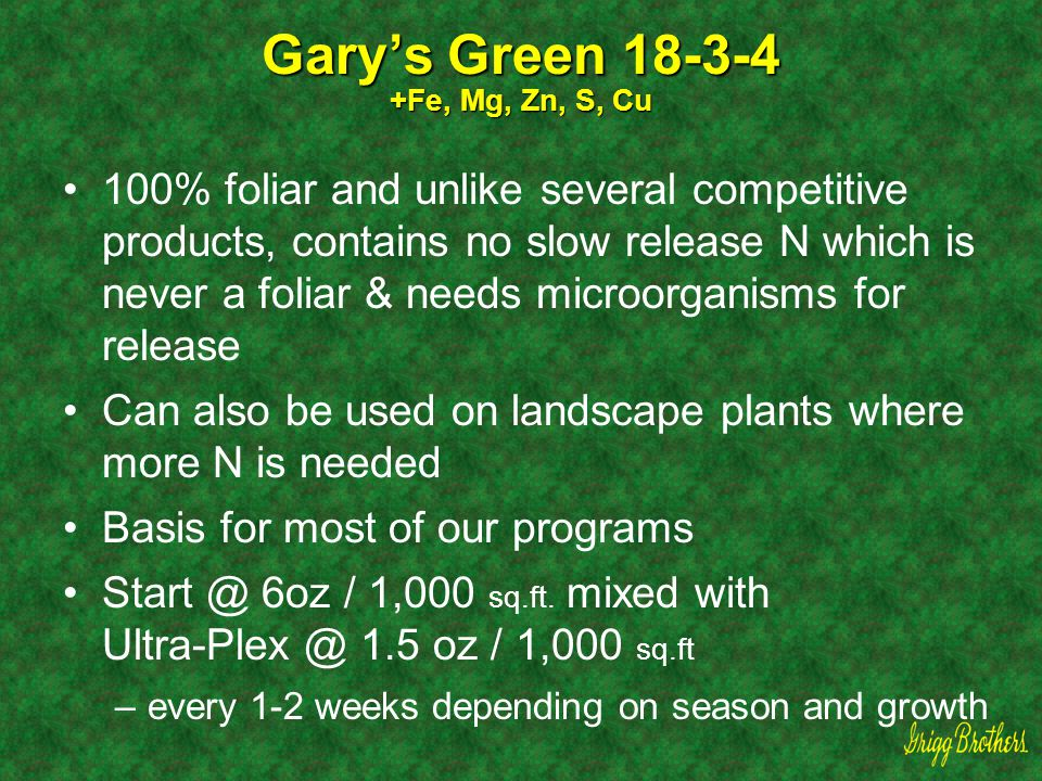 Gary's Green 18-3-4 +Fe, Mg, Zn, S, Cu