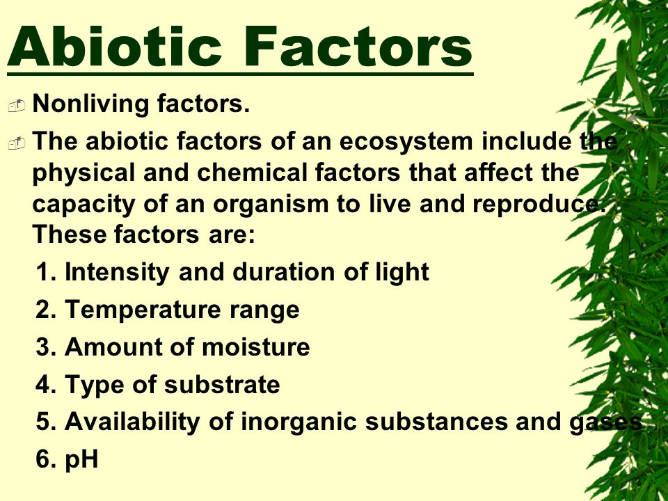 Abiotic Factors Nonliving factors.
