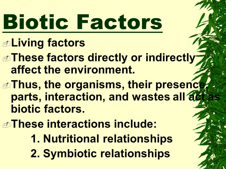 Biotic Factors Living factors