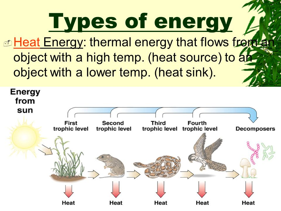 Types of energy Heat Energy: thermal energy that flows from an object with a high temp.
