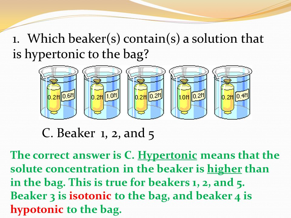 Which beaker(s) contain(s) a solution that is hypertonic to the bag