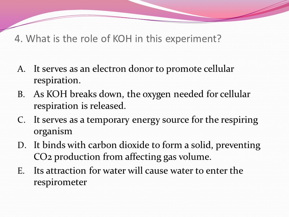 4. What is the role of KOH in this experiment