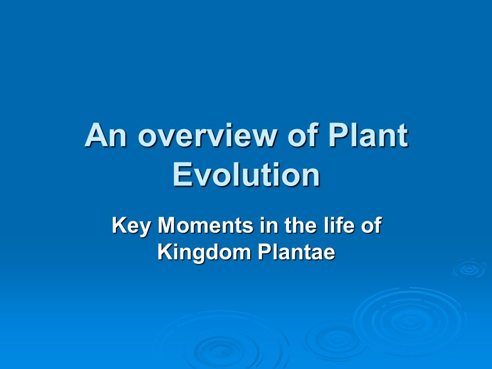 An overview of Plant Evolution
